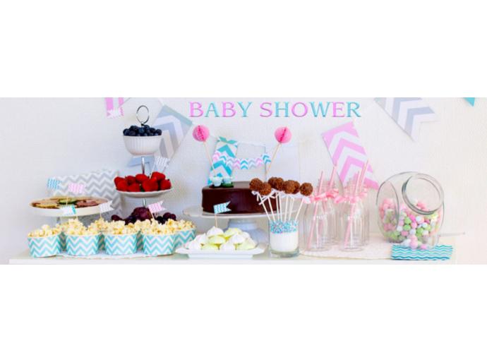 La décoration d'une fête de baby shower, tendre et acidulée